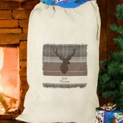 Personalised Highland Stag Design Cotton Sack