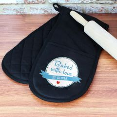 Personalised Baked With Love Black Oven Gloves