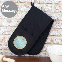 Personalised Baker Black Oven Gloves