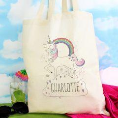 Personalised Unicorn Design Cotton Tote Bag