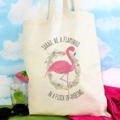 Personalised Flamingo Design Cotton Tote Bag