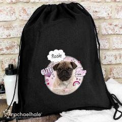 Personalised Doodle Pug Black Swim & Kit Bag by Rachael Hale