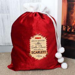 Personalised Gift Tag Luxury Pom Pom Sack