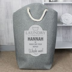 Personalised Grey Laundry Bag
