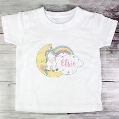 Personalised Baby Unicorn Childrens T shirt 1-2 Years