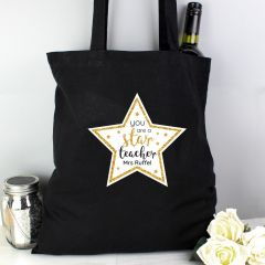 Personalised Star Teacher Black Cotton Tote Bag