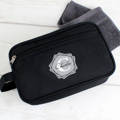 Personalised Geometric Design Initial Black Wash Bag