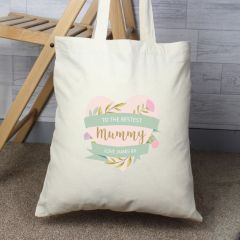 Personalised Floral Mother's Day Cotton Tote Bag