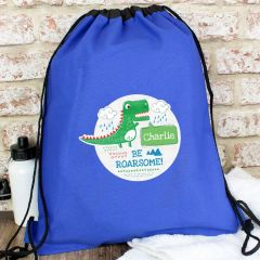 Personalised 'Be Roarsome' Dinosaur Drawstring Bag
