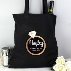 Personalised Gold Bling Ring Hen Party Black Cotton Tote Bag
