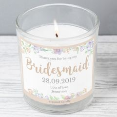 Personalised Bridesmaid 'Floral Watercolour Wedding' Scented Candle in Jar