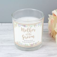 Personalised Mother of the Groom 'Floral Watercolour Wedding' Scented Candle in Jar