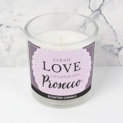 Personalised Lilac Lace 'Love Laughter & Prosecco' Scented Candle in Jar