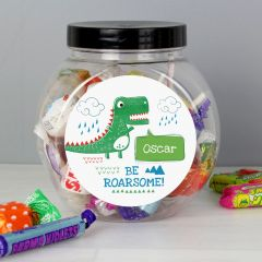Personalised 'Be Roarsome' Dinosaur Sweet Jar Gift