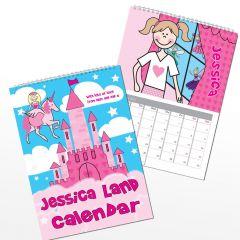 Personalised Princess & Unicorn Wall Calendar A4