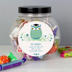 Personalised Mr Teacher Owl Sweet Jar Gift