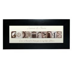 Personalised Affection Art Design Godparents Black Frame