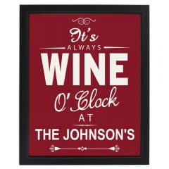 Personalised Wine O'Clock Black Framed Picture