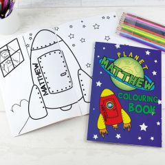 Personalised Space Design Colouring Book with Pencil Crayons