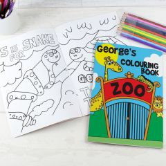 Personalised Zoo Design Colouring Book with Pencil Crayons