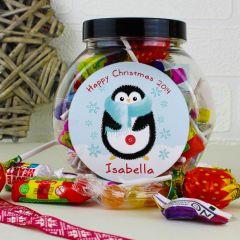 Personalised Felt Stitch Penguin Sweet Jar Gift