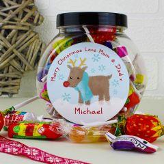 Personalised Felt Stitch Reindeer Sweet Jar Gift