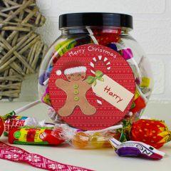 Personalised Felt Stitch Gingerbread Man Sweet Jar Gift