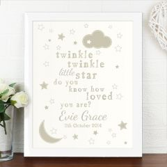 Personalised Twinkle Twinkle White Framed Picture