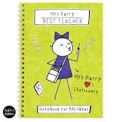 Personalised Purple Ronnie Lady Teacher Notebook