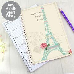 Personalised Vintage Pastel Travel Diary