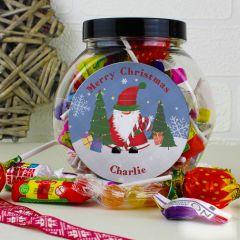 Personalised Tartan Santa Sweet Jar Gift