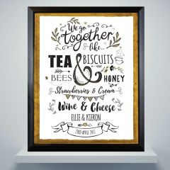 Personalised We Go Together Like... Black Framed Picture