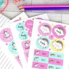 Personalised Baby Unicorn Design Sticker Set