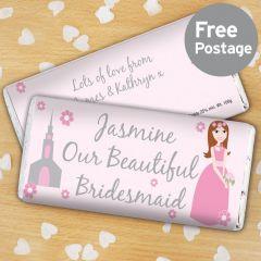 Personalised Beautiful Bridesmaid Chocolate Bar