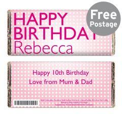 Personalised Happy Birthday Pink Dots Chocolate Bar