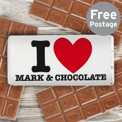 Personalised I HEART Chocolate Bar
