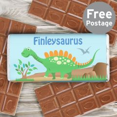 Personalised Dinosaur Chocolate Bar