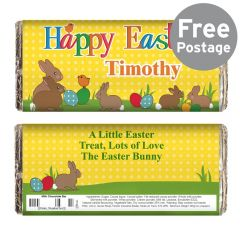 Personalised Easter Bunnies Design Chocolate Bar