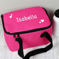 Personalised White Hearts Pink Childrens Lunch Bag