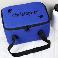 Personalised Black Rocket Childrens Lunch Bag