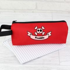 Personalised Red Skull & Cross Bones Pencil Case