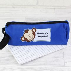 Personalised Monkey Face Blue Pencil Case