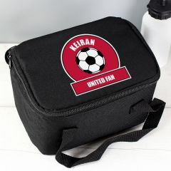 Personalised Red Football Fan Childrens Lunch Bag