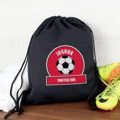 Personalised Red Football Fan Drawstring Bag