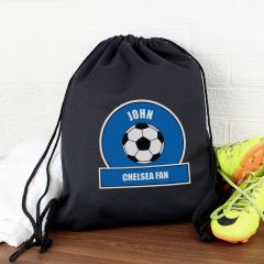 Personalised Dark Blue Football Fan Drawstring Bag