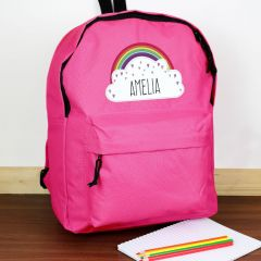 Personalised Pink Backpack With Rainbow Design
