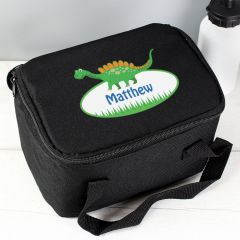 Personalised Dinosaur Black Childrens Lunch Bag
