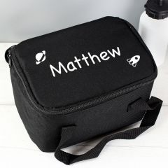 Personalised White Rocket Black Childrens Lunch Bag
