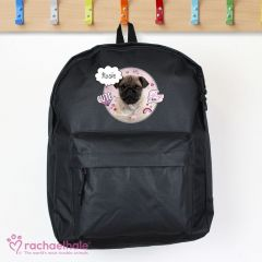 Personalised Doodle Pug Black Backpack by Rachael Hale