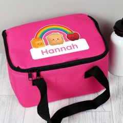 Personalised Healthy Eating Pink Childrens Lunch Bag